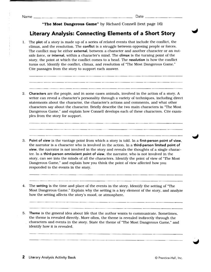 Freshman textbook literaryanalysisactivitybookgoldgr9 – Short Story Analysis Worksheet