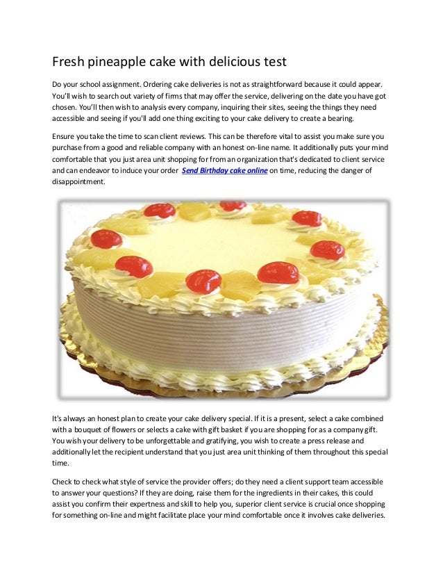 Fresh Pineapple Cake With Delicious Test Do Your School Assignment Ordering Deliveries Is Not