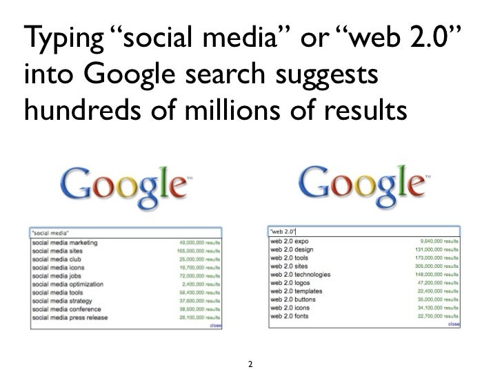 """Typing """"social media"""" or """"web 2.0"""" into Google search suggests hundreds of millions of results                      2"""