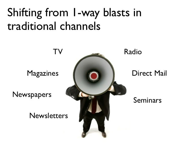Shifting from 1-way blasts in traditional channels                TV         Radio      Magazines              Direct Mail...