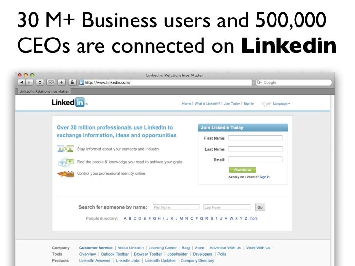 30 M+ Business users and 500,000 CEOs are connected on Linkedin