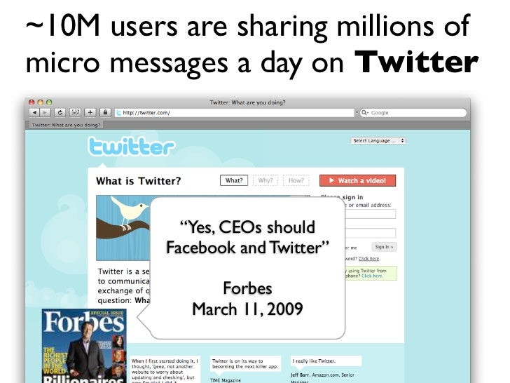 """~10M users are sharing millions of micro messages a day on Twitter                 """"Yes, CEOs should           Facebook an..."""