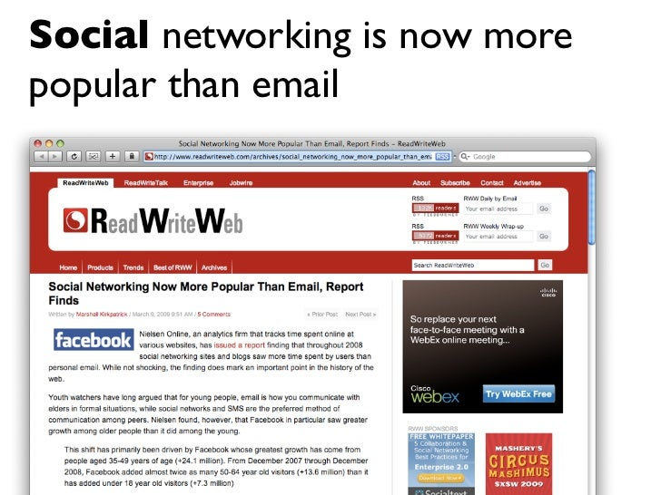 Social networking is now more popular than email