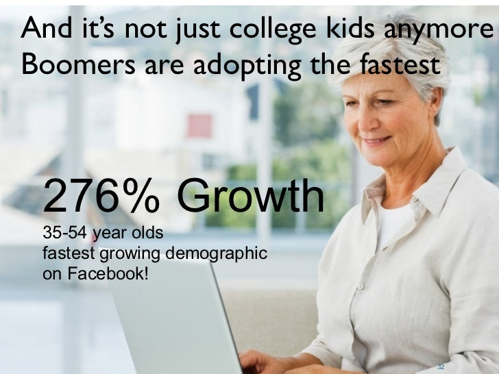 And it's not just college kids anymore Boomers are adopting the fastest     276% Growth  35-54 year olds  fastest growing ...