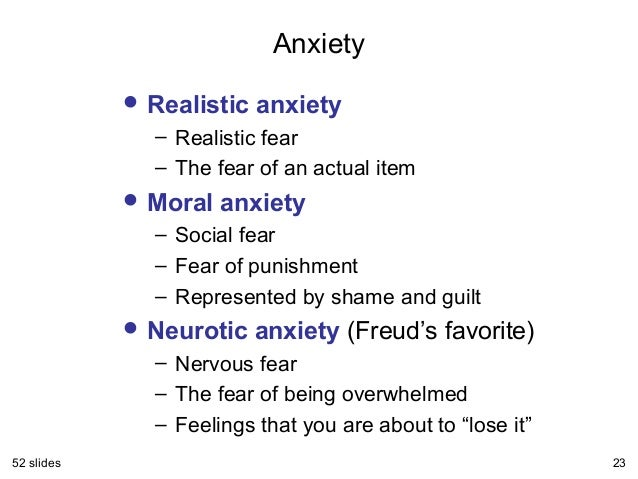 existential anxiety and neurotic anxiety Many theorists distinguish between anxiety and fear while fear is a response to a specific, objective and defined threat, anxiety is internal and objectless it is a free-floating feeling of unease and apprehension that something bad is going to happen it is accompanied with physical sensations.
