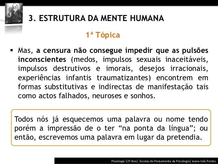 3. ESTRUTURA DA MENTE HUMANA                      1ª Tópica§ Mas, a censura não consegue impedir que as puls...