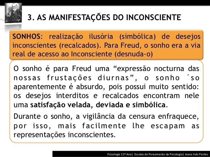 3. AS MANIFESTAÇÕES DO INCONSCIENTESONHOS: realização ilusória (simbólica) de desejosinconscientes (recalcados)...