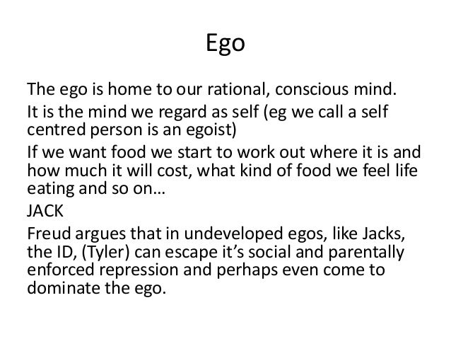 pschoanalytical theory of fight club The connection that we shall draw between psychoanalytic theory and the film fight club is simple and is this the narrator is a representation of the ego, for tyler durden we can substitute the id the narrator/the ego in the freudian psychic model the ego is the civilised part of consciousness the ego is that part of the.