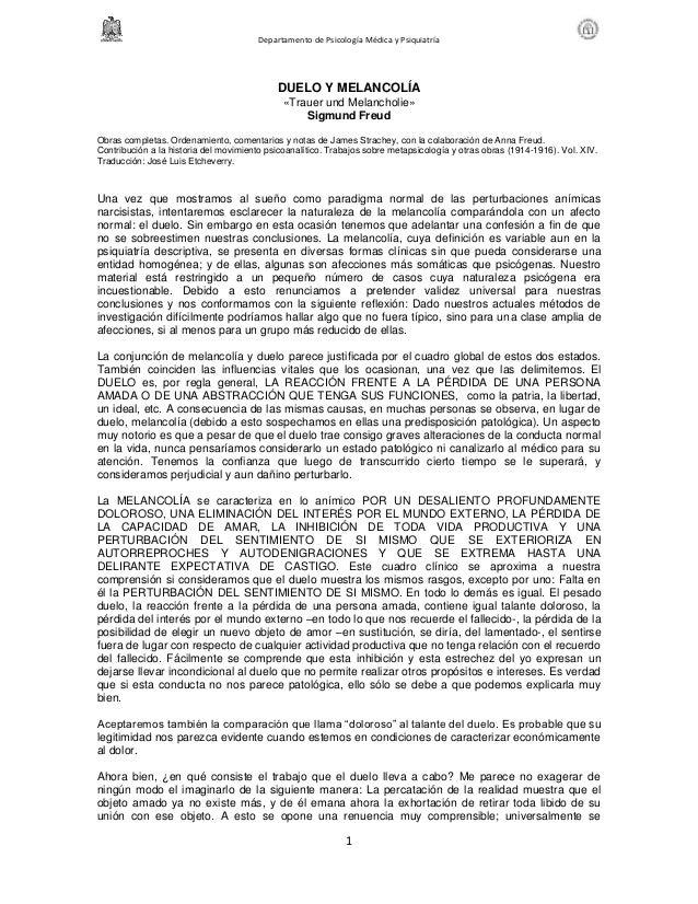 Departamento de Psicología Médica y Psiquiatría                                            DUELO Y MELANCOLÍA             ...