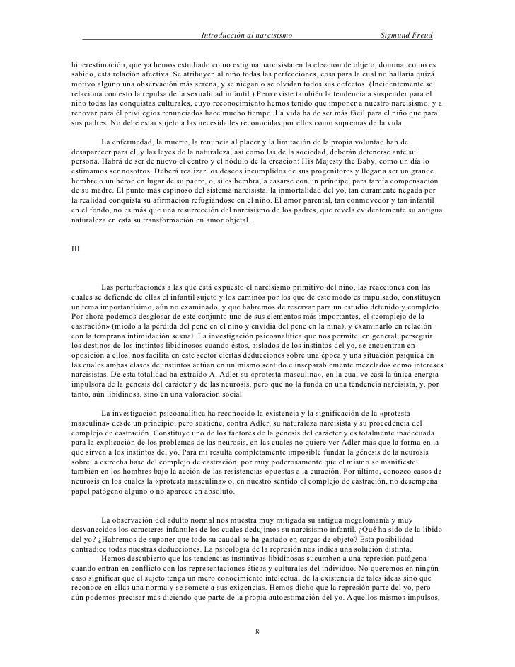 Introducción al narcisismo                            Sigmund Freudhiperestimación, que ya hemos estudiado como estigma na...