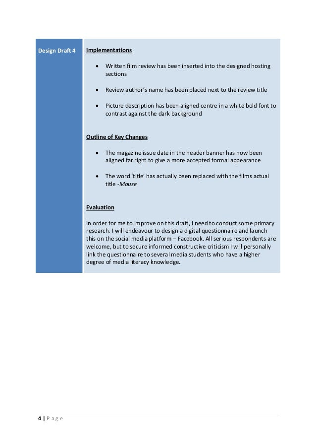 4 | P a g e Design Draft 4 Implementations  Written film review has been inserted into the designed hosting sections  Re...