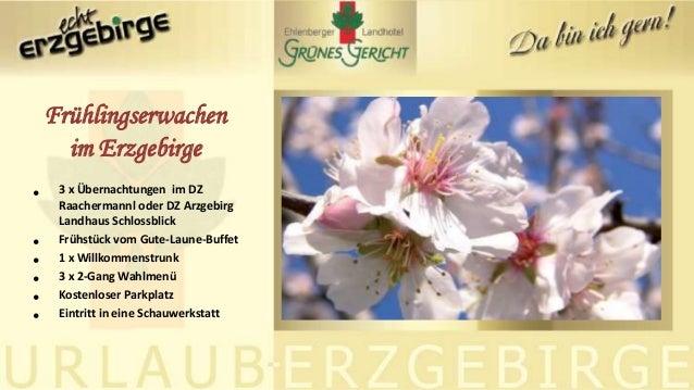 • 3 x Übernachtungen im DZ Raachermannl oder DZ Arzgebirg Landhaus Schlossblick • Frühstück vom Gute-Laune-Buffet • 1 x Wi...