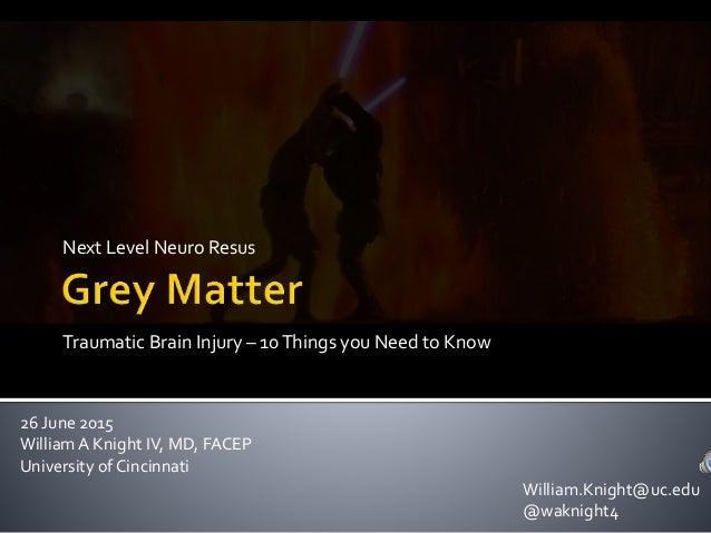 Next Level Neuro Resus 26 June 2015 WilliamA Knight IV, MD, FACEP University of Cincinnati Traumatic Brain Injury – 10Thin...