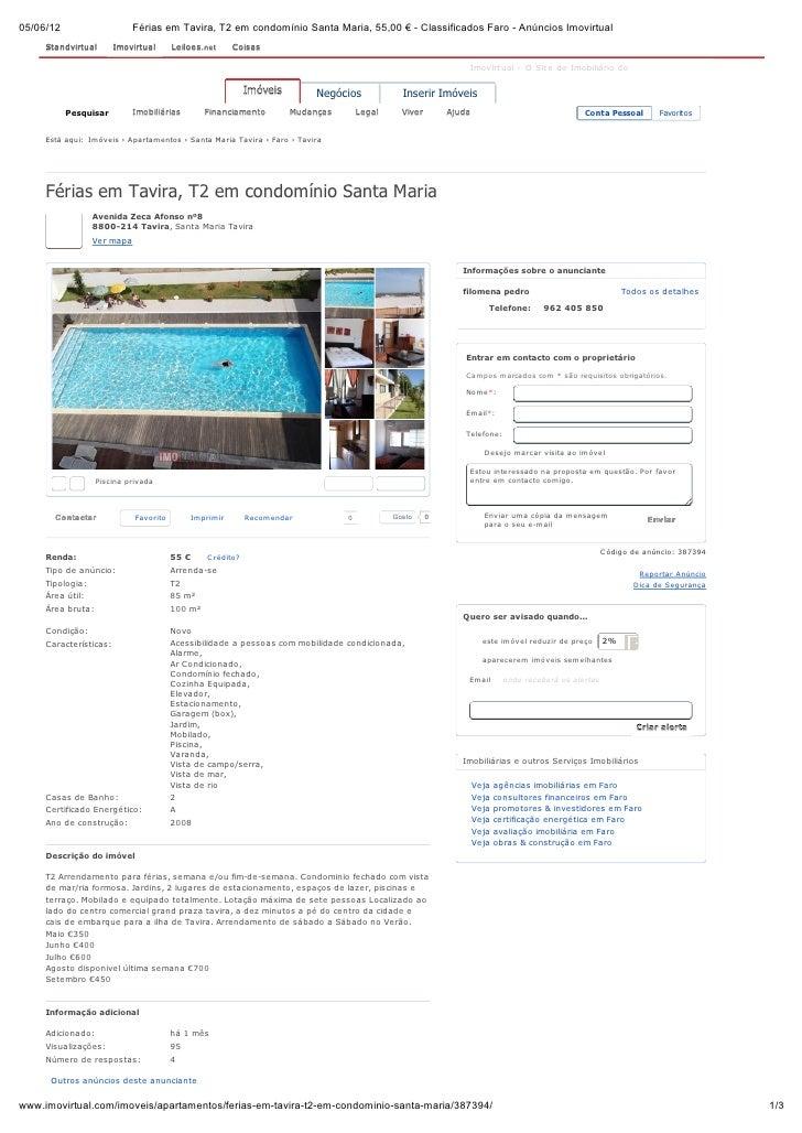 05/06/12                     Férias em Tavira, T2 em condomínio Santa Maria, 55,00 € - Classificados Faro - Anúncios Imovi...