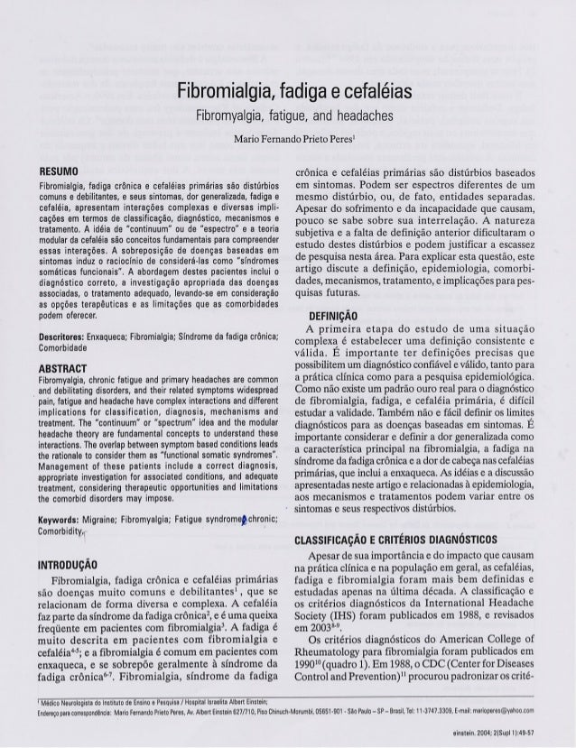Fribromialgia Fadiga Enxaqueca
