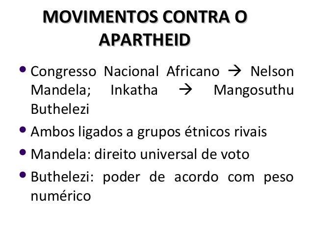 MOVIMENTOS CONTRA OMOVIMENTOS CONTRA O APARTHEIDAPARTHEID Congresso Nacional Africano  Nelson Mandela; Inkatha  Mangosu...