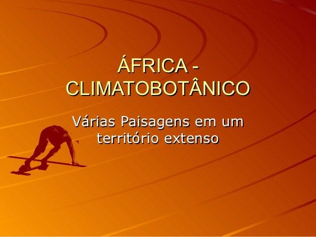 ÁFRICA -CLIMATOBOTÂNICOVárias Paisagens em um   território extenso