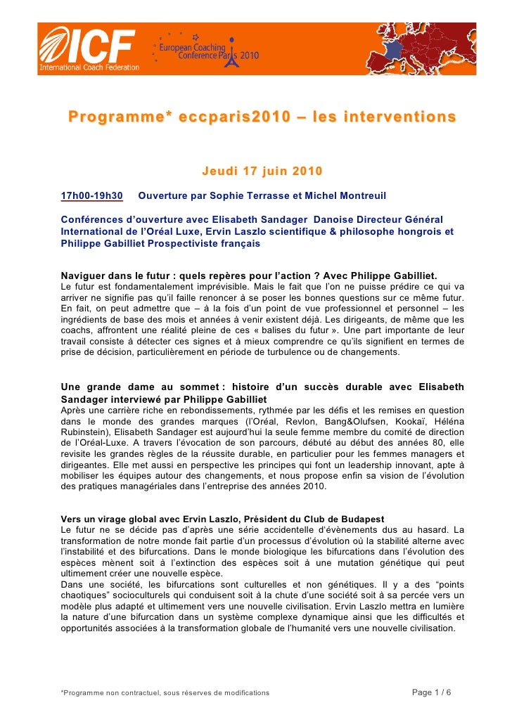 Programme* eccparis2010 – les interventions                                          J eudi 17 jui n 2010  17h00-19h30    ...