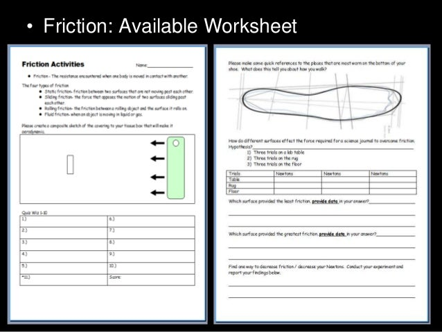 Friction Lesson PowerPoint – Friction Worksheet