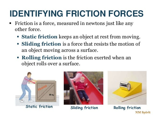 IDENTIFYING FRICTION FORCES  Friction is a force, measured in newtons just like any other force.  Static friction keeps ...
