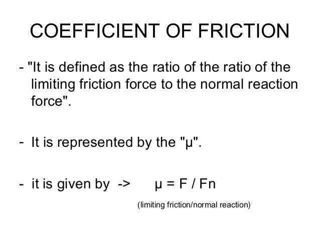 Friction types of friction and different laws of friction – Coefficient of Friction Worksheet