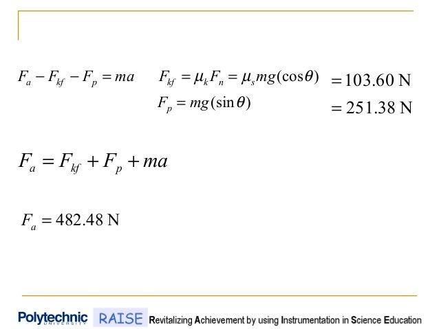 )(sin )(cos θ θµµ mgF mgFFmaFFF p snkkfpkfa = ===−− N251.38 N60.103 = = N48.482=aF maFFF pkfa ++=