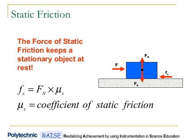 Static Friction frictionstaticoftcoefficien Ff s sNs = ×= µ µ FN fs F Fg The Force of Static Friction keeps a stationary o...