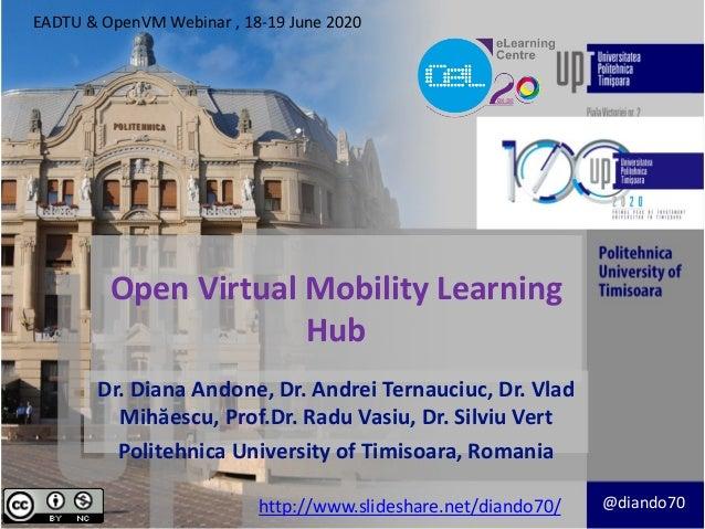 Open Virtual Mobility Learning Hub Dr. Diana Andone, Dr. Andrei Ternauciuc, Dr. Vlad Mihăescu, Prof.Dr. Radu Vasiu, Dr. Si...