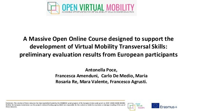 A Massive Open Online Course designed to support the development of Virtual Mobility Transversal Skills: preliminary evalu...
