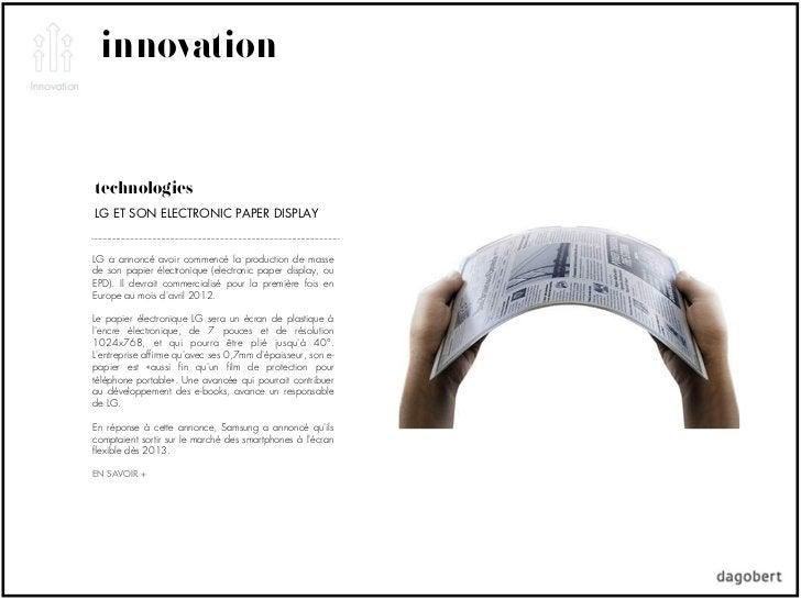 innovationtechnologiesLG ET SON ELECTRONIC PAPER DISPLAYLG a annoncé avoir commencé la production de massede son papier él...