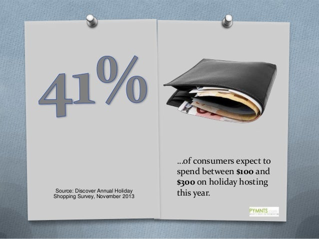 Source: Discover Annual Holiday Shopping Survey, November 2013  …of consumers expect to spend between $100 and $300 on hol...