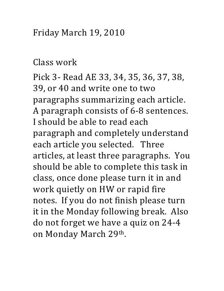 Friday March 19, 2010<br />Class work<br />Pick 3- Read AE 33, 34, 35, 36, 37, 38, 39, or 40 and write one to two paragrap...