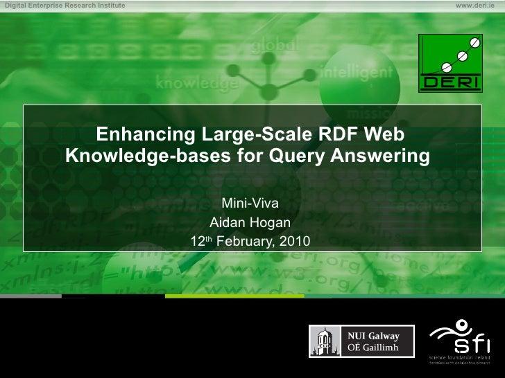 Enhancing Large-Scale RDF Web Knowledge-bases for Query Answering   Mini-Viva Aidan Hogan 12 th  February, 2010