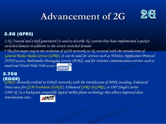 """Advancement of 2GAdvancement of 2G2.5G (GPRS)2.5G (""""second and a half generation"""") is used to describe 2G-systems that hav..."""