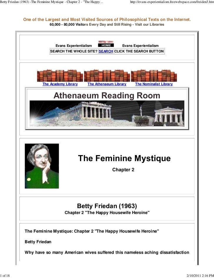 "Betty Friedan (1963) -The Feminine Mystique - Chapter 2 - ""The Happy ...             http://evans-experientialism.freewebs..."