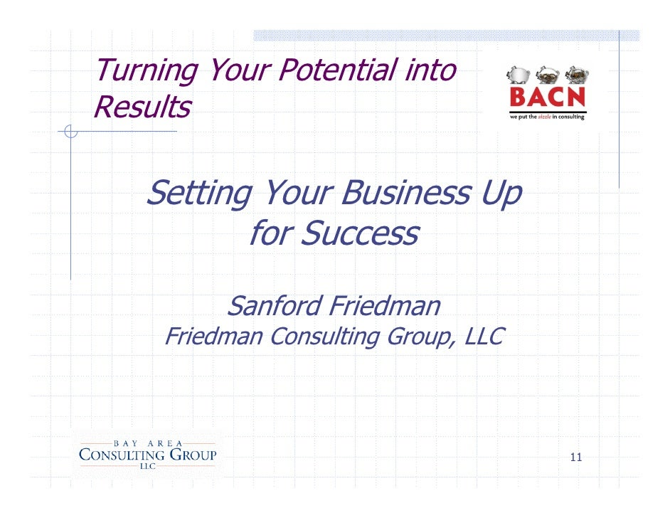 Turning Your Potential into Results     Setting Your Business Up           for Success           Sanford Friedman      Fri...