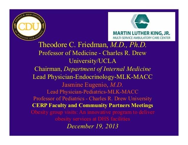 Theodore C. Friedman, M.D., Ph.D. Professor of Medicine - Charles R. Drew University/UCLA Chairman, Department of Internal...