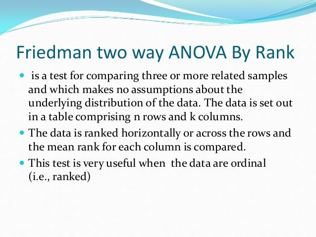 Friedman two way analysis of  variance by Slide 2