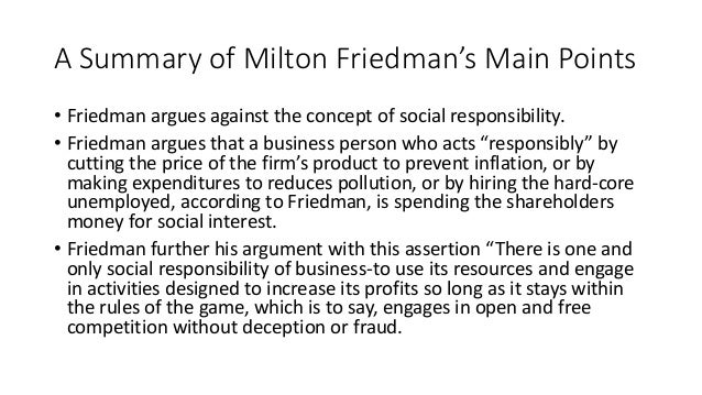 Friedman Business Ethics Essay