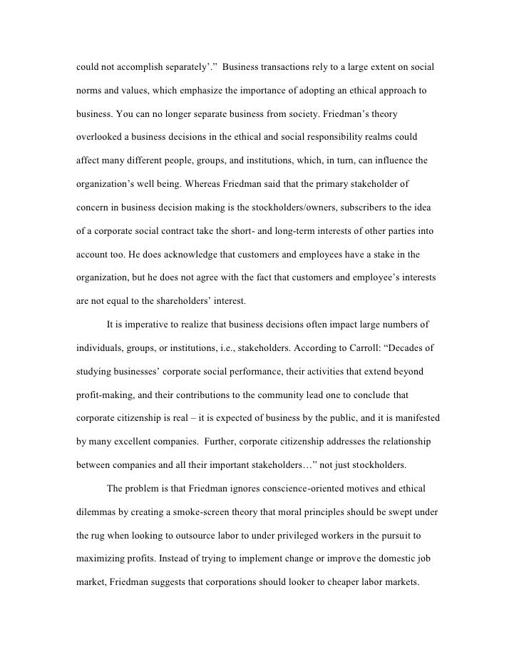 friedman vs carroll corporate social responsibility outsourcing 3 could