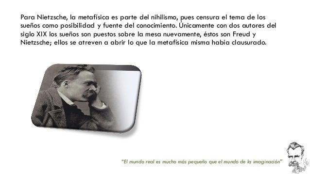 Para Nietzsche, la metafísica es parte del nihilismo, pues censura el tema de los sueños como posibilidad y fuente del con...