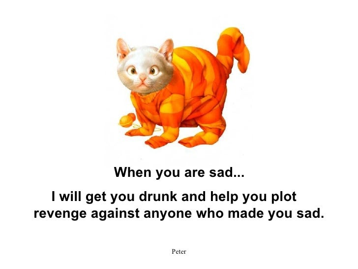 I will get you drunk and help you plot revenge against anyone who made you sad. When you are sad...