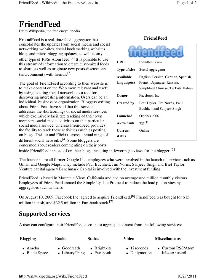 FriendFeed - Wikipedia, the free encyclopedia                                                         Page 1 of 2FriendFee...