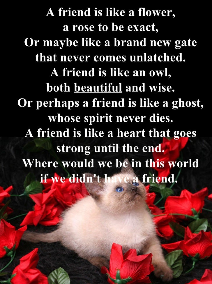 A friend is like a flower, a rose to be exact, Or maybe like a brand new gate that never comes unlatched. A friend is like...
