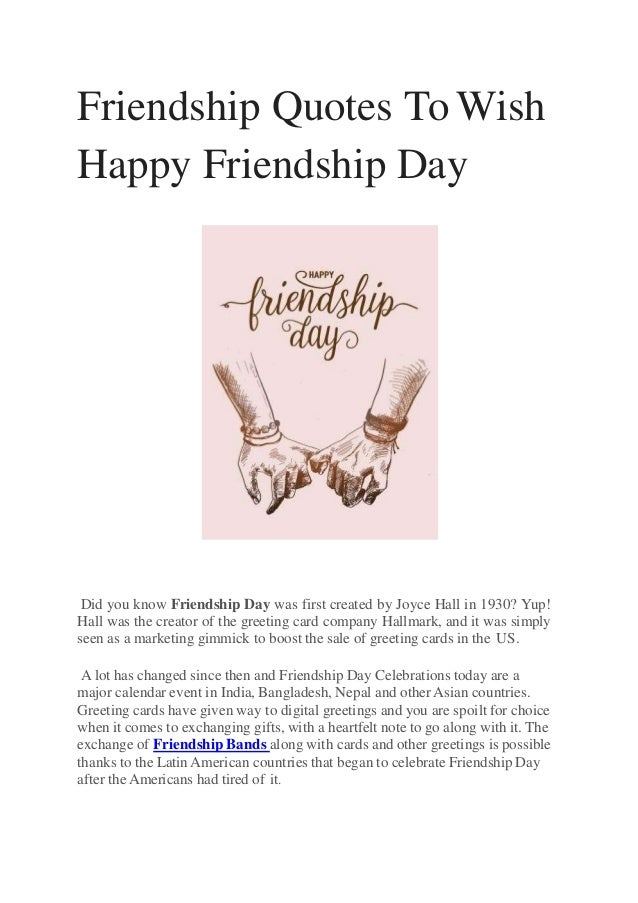 Friendship Day Out Quotes