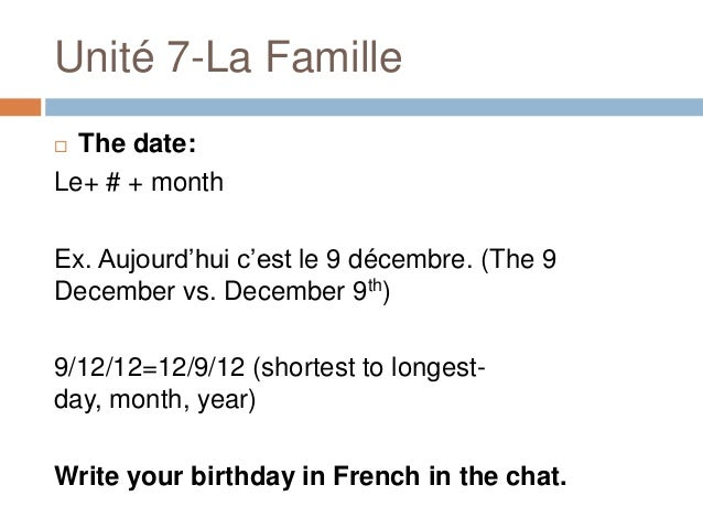 The Date In French