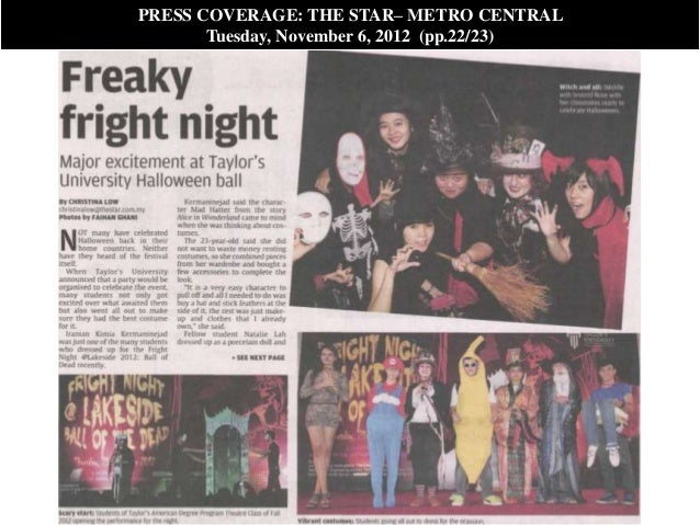 PRESS COVERAGE: THE STAR– METRO CENTRAL       Tuesday, November 6, 2012 (pp.22/23)