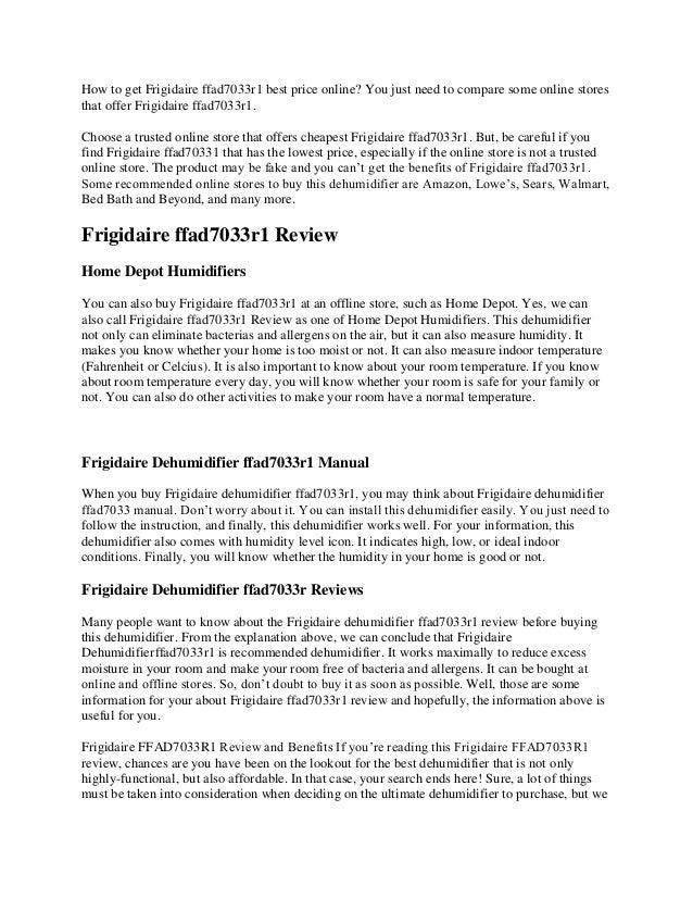 Frigidaire Ffad7033r1 Review