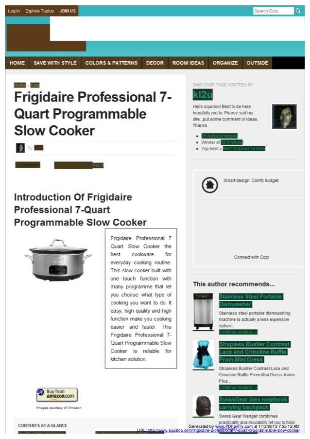 Generated by www.PDFonFly.com at 1/12/2013 7:55:12 AMURL: http://www.squidoo.com/frigidaire-professional-7-quart-programma...