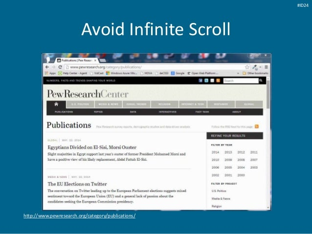 Avoid Infinite Scroll http://www.pewresearch.org/category/publications/ #ID24